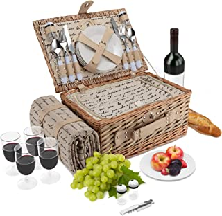 Wicker Picnic Basket   4 Person Vintage Style Woven Willow Picnic Hamper with Blanket   Built-In Cooler   Ceramic Plates, Stainless Steel Silverware, Wine Glasses, S/P Shakers, Bottle Opener (Natural)