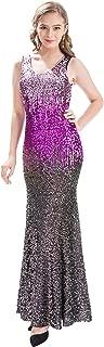 Women V Neck Sequin Long Dress Sleeveless Evening Prom Formal Mermaid Gowns