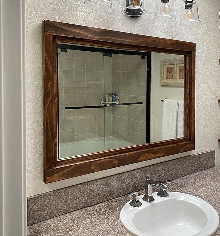 Buy Farmhouse Framed Wall Mirror 20 Stain Colors Vanity Mirror Bathroom Mirror Mirror For Wall Mirror Over Double Sink Vanity Master Bathroom Mirror Wood Framed Mirror Bathroom Decor Online In Turkey B077wq23zz