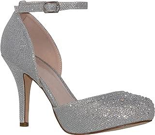MVE Shoes Womens Stylish Sparkle Closed Toe Ankle Strap Dress Shoes