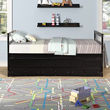 Twin Bed with Trundle and 3 Storage Drawers, Captains' Bed with Headboard and Footboard, Extendable Wood Platform DayBed