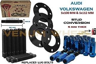 Venum wheel accessories 4 Pc Audi & Volkswagen 57.1 MM Hub Black Hub Centric Spacers 5 MM Thick + Stud Conversion Kit W/Blue Racing Lug Nuts (Replaces Lug Bols) - Fits Aftermarket Wheels