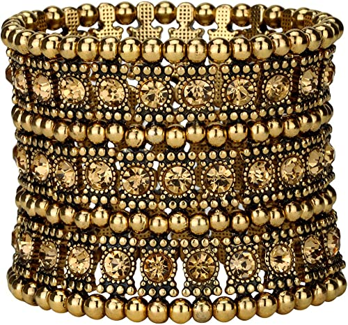 YACQ Women's Multilayer Wide Stretch Cuff Bracelets Fit Various Wrist Sizes - Soft Elastic Band - Lead & Nickle Free