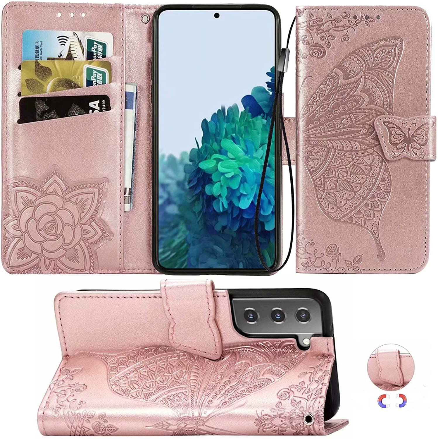 Galaxy S21+ Plus Wallet Case,Cmeka Magnetic Leather Case for Women,3D Butterfly Card Slots Folio [Kickstand],Soft TPU Protective Flip Cover for Samsung Galaxy S21+ 5G Phone Case 6.7 Inch Rose Gold
