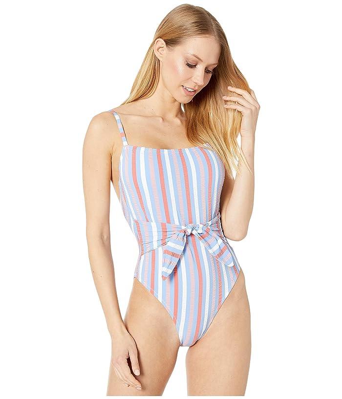 Vintage Bathing Suits | Retro Swimwear | Vintage Swimsuits Jessica Simpson Miami Stripe Tie Waist Maillot One-Piece Eyeshadow Multi Womens Swimsuits One Piece $108.00 AT vintagedancer.com