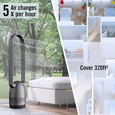 Air Purifier Fan - Mitcent Bladeless Fan with HEPA Filter , Capture 99.97% Smoke Dust Pollen Dander, 40 Inch Black