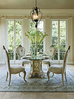 AICO Platine de Royale Round Glass Top Dining Table and 4 x Side Chair Set - Champagne