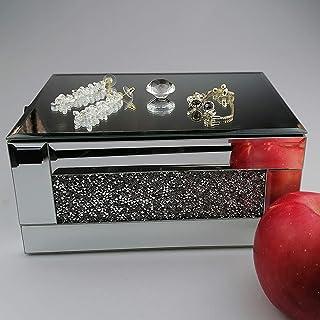 علبة مجوهرات كريستالية منظمة، وحدة تخزين مجوهرات فاخرة صناعة يدوية، إكسسوار منزلي، حاوية مثالية للتخزين وديكور (فضي)