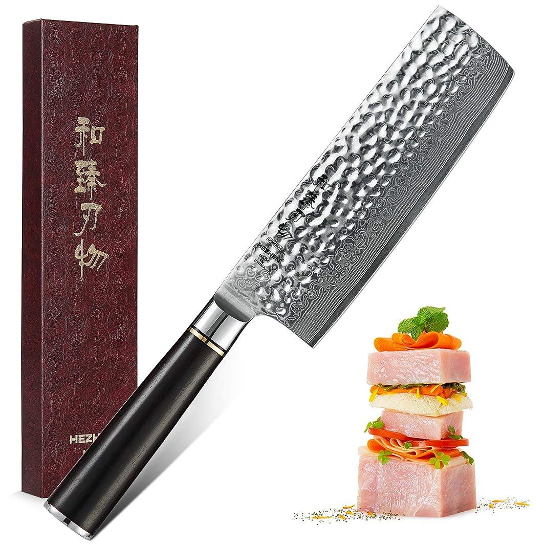 HEZHEN Nakiri Knife Damascus Steel 6.8 Inch High Carbon 67 Layer Japanese VG10 Super Steel Professional Vegetable Kitchen Chef's Knife Hammered Finish with Ebony Handle - Classic Series (Nakiri Knife)