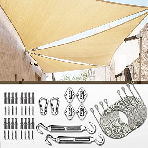 high quality ColourTree lowest 16' x 16' x 22.6' Beige Sun Shade Sail with 6 online Inch Hardware Kit online