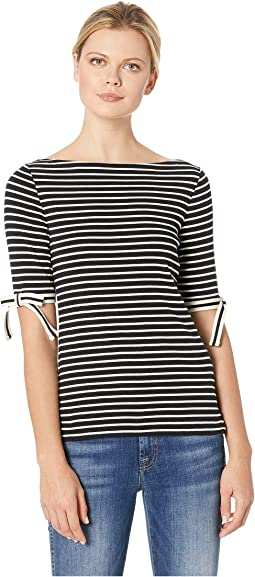 Ribbon-Sleeve Striped Boat Neck Top