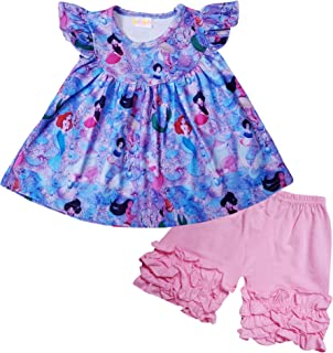 AMK Baby Little Girls Cartoon Character Disney Minnie Top Capri or Short Outfits - 2 pc Knit Playwear Set