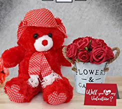 TIED RIBBONS Valentine Day Gift for Husband Wife Girlfriend Boyfriend Him Her - Valentines Special (Teddy, Vase, Bunch of Roses and Greeting Card)