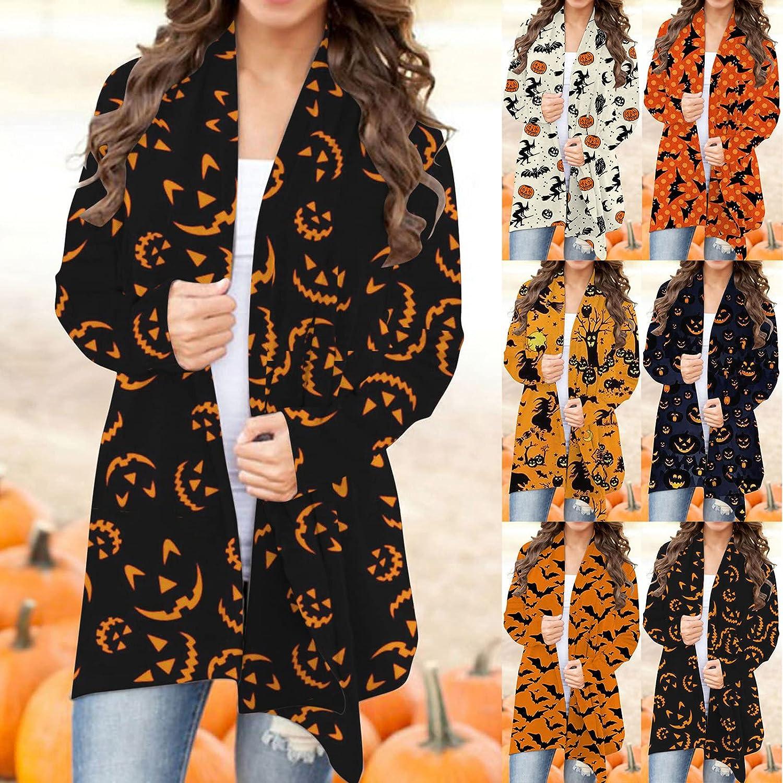 UOCUFY Halloween Cardigan for Women, Womens Coat Long Sleeve Open Front Pumpkin Print Slouchy Sweater Sweatshirts