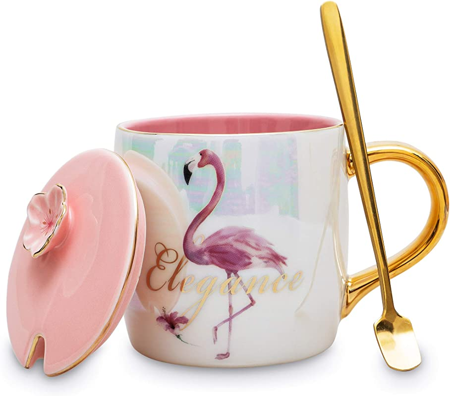 BMVMB 12 Oz Ceramic Flamingo Mugs With Lid And Gold Spoon Porcelain Coffee Tea Cups Creative Anniversary Gift For Friends Flamingo Lovers