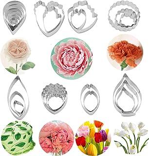 4URNEED Lot de 26 emporte-pièces en forme de fleurs pour fondant - 7 fleurs différentes - Rose, pivoine, clou de girofle, ...