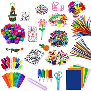 Assorted Arts and Crafts Supplies for Kids- DIY Collage School Crafting Materials Supply Set Pipe Cleaner- Craft Art Mater...