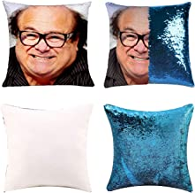 K T One Funny DIY Sequin Pillows Cover Danny Devito Face Magic Reversible Throw Pillow Cover Decorative Change Color Pillo...