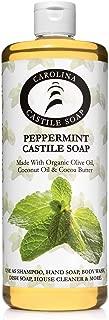 Organic Peppermint Castile Soap Liquid - 32 oz - Carolina Castile - Great for Peppermint Body Wash & Peppermint Shampoo