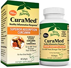 Terry Naturally CuraMed 750 mg - 60 Softgels - Superior Absorption BCM-95 Curcumin Supplement with Turmeric, Promotes Healthy Inflammation Response - Non-GMO, Gluten-Free, Halal - 60 Servings