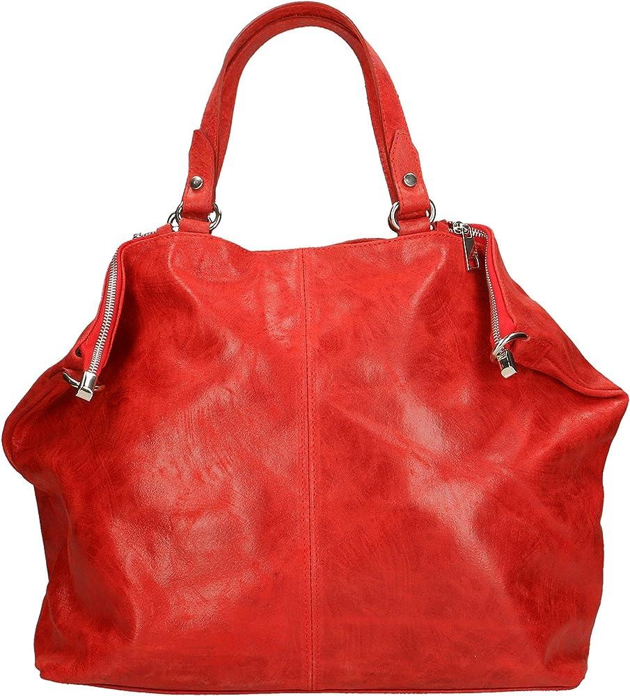 Chicca borse ctm,  borsa a mano grande da donna, in vera pelle effetto stampato, con tracolla, ROS 80055-ROSSO