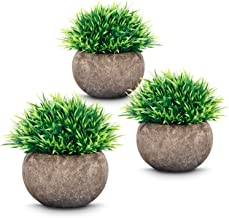 ODOM 3 Pcs Home Decor Fake Plants, Mini Artificial Plastic Greenery Green Grass with Air Purifying for House Kitchen Living Bath-Room Coffee Table Office Decoration (Potted Plants, 2019 New Version)