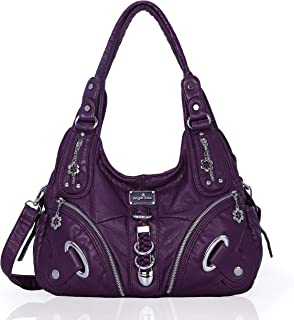 Angelkiss Women Multiple Pockets Purses and Handbags Washed Leather, Two Top Zippers Closure, Purple
