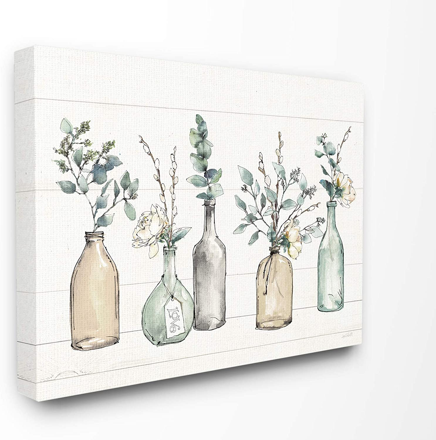 New Free Shipping Stupell Bombing free shipping Industries Bottles and Plants Canvas Farm Wood Textured