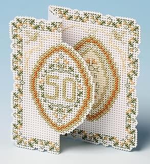 golden wedding anniversary cross stitch cards