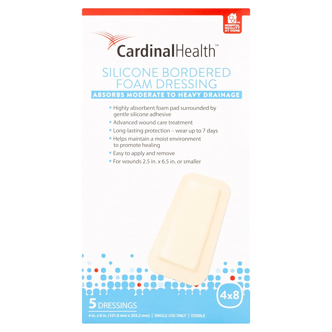 Cardinal Health BFM48R Silicone Bordered Foam Bandage 4-inch x 8-inch (15), 15 Count Case Pack