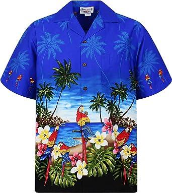 Pacific Legend | Original Camisa Hawaiana | Caballeros | S - 4XL | Manga Corta | Bolsillo Delantero | Estampado Hawaiano | Loros | Azul