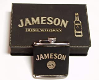 Jameson Whiskey Black leather 6 oz Flask Gift Set with 2 Shot Glasses and a Funnel in an Engraved Black leather box