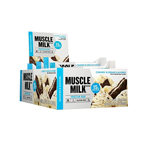 Muscle Milk Protein Bar, Cookies N Cream, 15g Protein, 12 count