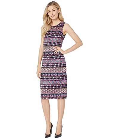Adrianna Papell Geometric Embroidered Sheath Dress (Pink/Olive Multi) Women