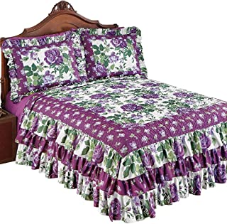 Collections Etc Roseland Ruffled Bedspread with Purple Roses and Fresh Green Floral Pattern, Purple Floral, Twin