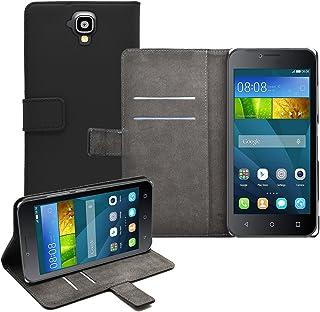 7b079469fd4 Membrane - Negro Cartera Funda Compatible con Huawei Y5 (Y560) + 2 Protector  de