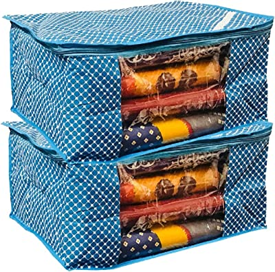 Kuber Industries™ Cotton 3 Layered Quilted Saree Cover Set of 2 Pcs (Blue) Code-SCC24