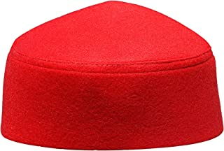 Solid Red Moroccan Fez-Style Kufi Hat Cap w/Pointed Top