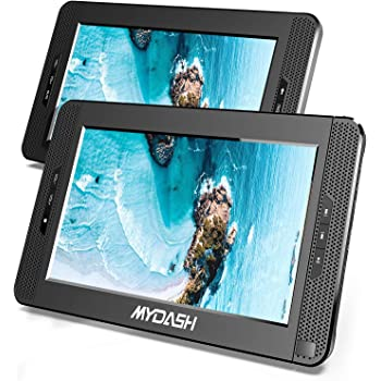 """MYDASH 2020 10.1"""" Dual Screen DVD Player, Car Headrest CD Players with Built-in 5 Hrs Rechargeable Battery and Bracket, Support USB/SD/MMC Card& Resume Play Function&AV in/Out (1 Player+1 Monitor)"""
