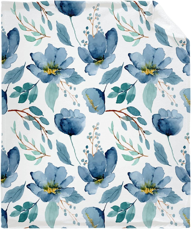ギフト Qutown 割引 Blue Flower Floral Pattern Lightweight Throw Blanket Soft