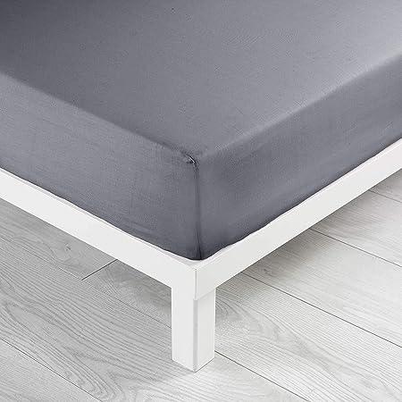 douceur d'intérieur 1640636 Drap Housse Uni Coton 57 Fils Gris Souris 160 x 200 cm