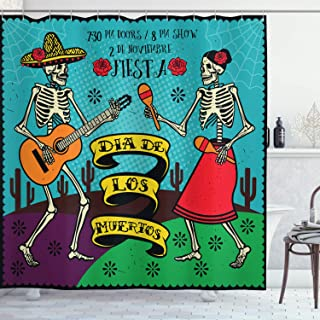 Ambesonne Day of The Dead Shower Curtain, Dia de Los Muertos Design with Spanish Couple Dancing Image Print, Cloth Fabric Bathroom Decor Set with Hooks, 84