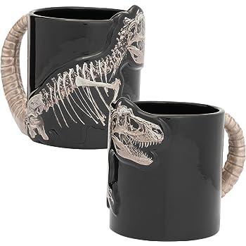Vandor 56119 Dino Skeleton 20 oz. Sculpted Ceramic Mug, Black