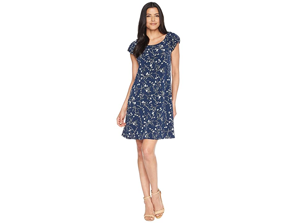 CeCe Puffed Sleeve Graceful Floral Knit Dress (Naval Navy) Women