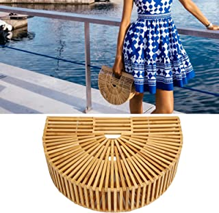 Bamboo Bags, Portable Wooden Beach Purses Basket for Women for Summer Shopping for Parties Dating Travel(S)