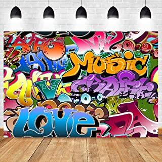 10X7ft Graffiti Style Background 80's 90's Themed Party Backdrop for Photography Hip Hop Vinyl Background Photo Booth Studio Props GEEV391 LELEZ