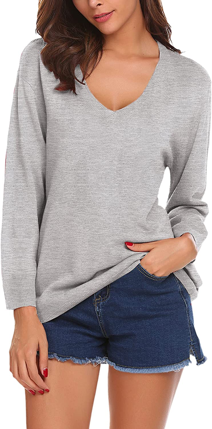 SoTeer Sweaters for Women Casual V-Neck Long Sleeve Lightweight Solid Color Loose Soft Knit Pullover Sweater Top