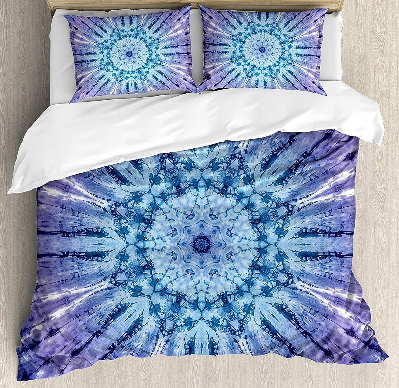 LAMANDA Twin Size Mandala Luxury Soft Duvet Cover Set, Original Circle Mandala Motif Centered Vibrant and Spectral color Motion Graphic, Decorative 4 Pieces Bedding Sets, Purple bluee