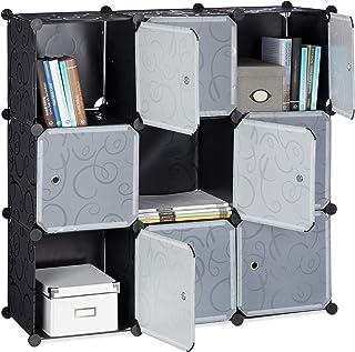 Relaxdays Étagère rangement 9 casiers portes plastique modulable DIY assemblage plug in bibliothèque, Noir, 95.5 x 32 x 95...