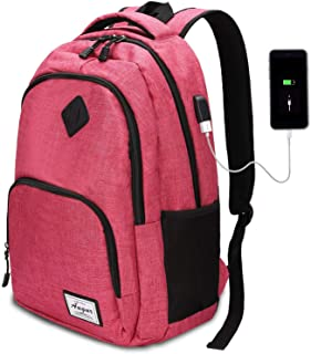 Laptop Backpack Travel Backpack with USB Charging Port Anti Thief/Water Resistant College School Bookbag for Women Men Business Backpack Fit 15.6 inch Notebook (Pink)